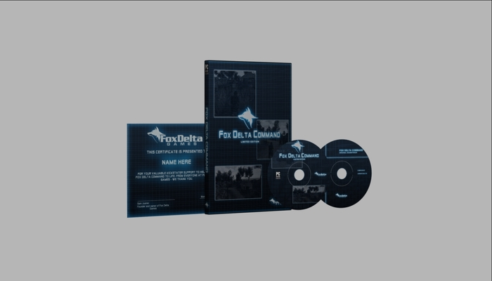 For people who donate $60. A hard copy of the game and sound track. Both will come in a case which will have all the Fox Delta Command team's signatures on it. As well as a thank you certificate with your name on it.