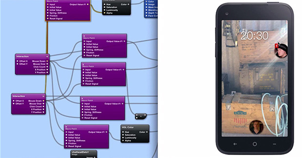 Snapshot from a tutorial on prototyping Facebook Home in Quartz Composer