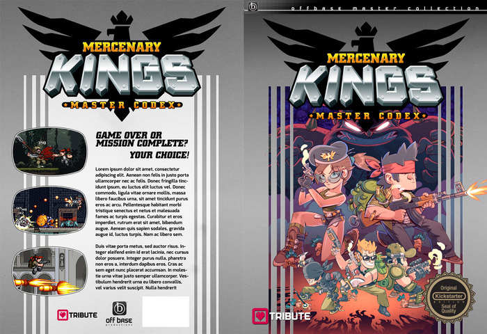 A work-in-progress mock up of the front and back covers by Brady Hartel. Art by Stéphane Boutin of Tribute Games.