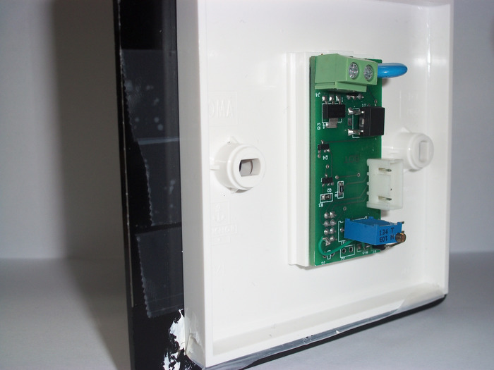 Switch Glued to a printed panel, Rear View mounted on an off the shelf board