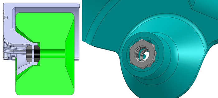 """Wheel Shields mount using two custom nuts that form a """"jam nut"""" to lock everything into place"""