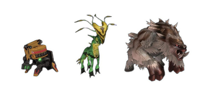 Pets from left to right: Automaton 2000, Artosilope and Baby Ursadon