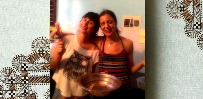 Paula (left) & Angelika (right) after tempering a gorgeous batch of chocolate