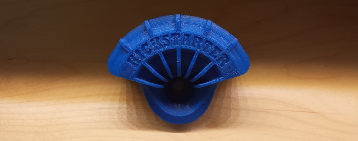 """Custom 3D printed Wheel Shields available as a reward! This one says """"Kickstarter"""", but yours can say whatever you like. Printed from the same 3D printer used to prototype Wheel Shields!"""