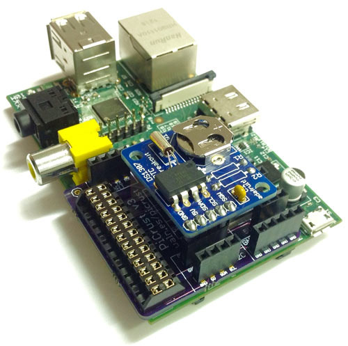 The Pi Crust even has the same pin layout as the Adafruit RTC!