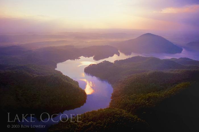 Evening sunset over Lake Ocoee