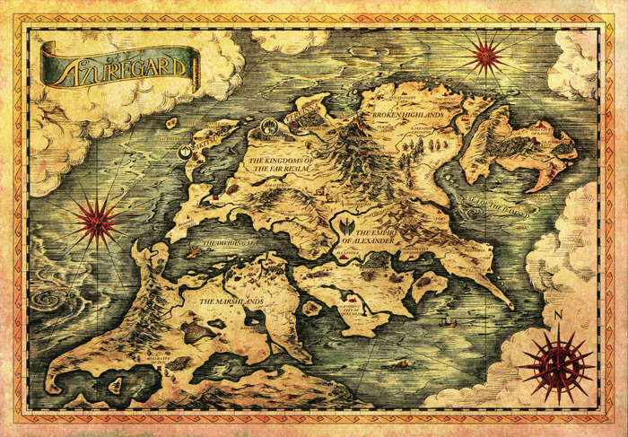 The worldmap of Azuregard. Created by Rebecca Catt and illustrated by Koya Takahashi