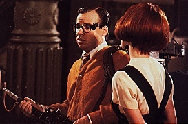 Louis (Rick Moranis) after his failure to catch Slimer. He tells Janine the guys asked him to help out - like he's a fifth Ghostbuster.