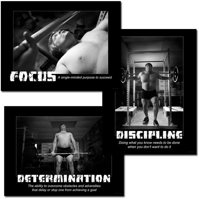 Set of three 18x24 motivational posters featuring Greg's personal definitions of DFD