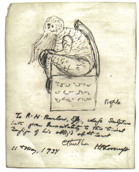 A sketch of Cthulhu by H. P. Lovecraft in 1934 (Source: Wikipedia)