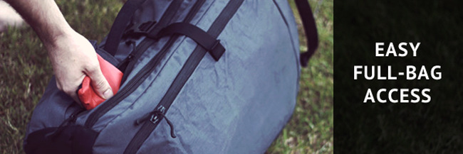 You have instant access to all your gear, from any angle - not just the stuff on the top - thanks to our full-length zips.