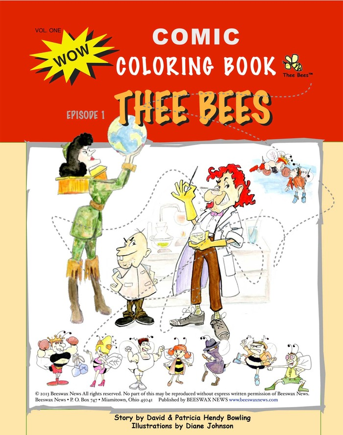 Thee Bees Comic Coloring Book, fun illustrations to color and a short story too!