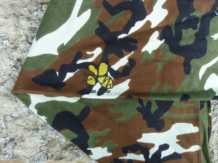 Camo cotton bandana with Thee Bees embroidered logo.