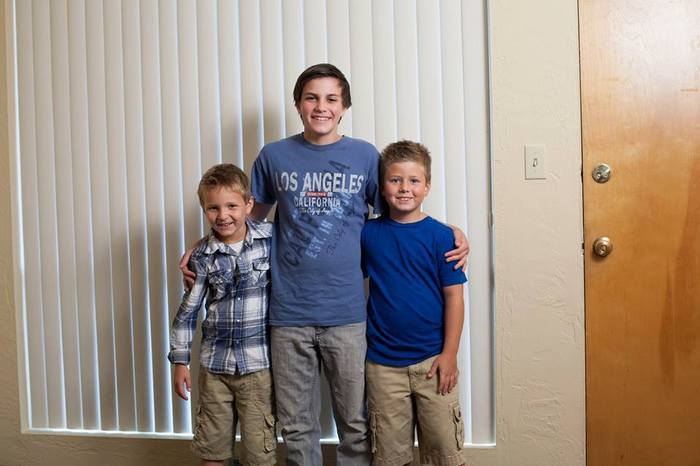 From left to right, Colton Nicol as Patrick Cozad, the actual Denver Wells, Ty Hellenthal as Denver Wells