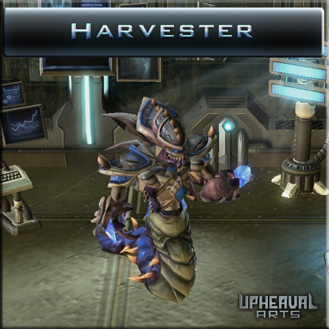 The Hybrid Harvester is a twisted genetic merging of the Zerg Hydralisk and seasoned Protoss Zealot. Its unrelenting demeanor on the battlefield strikes fear into the even the most experienced combatants.
