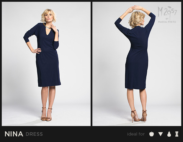 """V-neck shift dress with ¾ sleeve / Liquid jersey with a """"2nd skin"""" slip / Waist to hem: 25"""" / Shown here in Midnight / $250"""