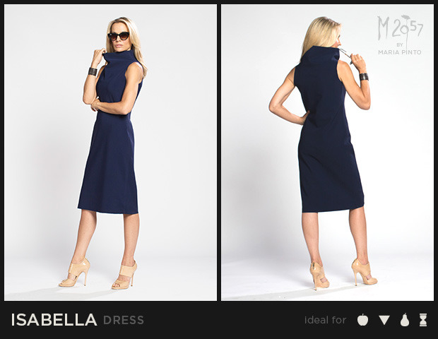 """Sleeveless shift dress with a funnel neck and cut edges / Form jersey / Waist to hem: 25"""" / Shown here in Midnight / $250"""