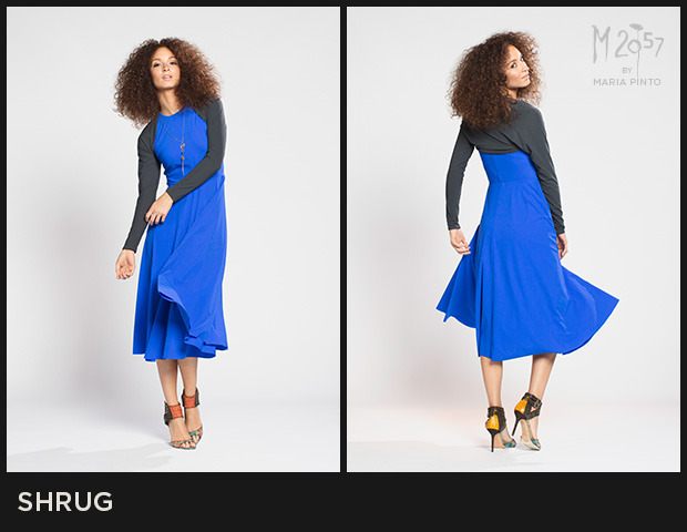 Long sleeves / Perfect layer to wear with a sleeveless dress / Liquid jersey / Shown here in Cargo with the Sophia dress / $175