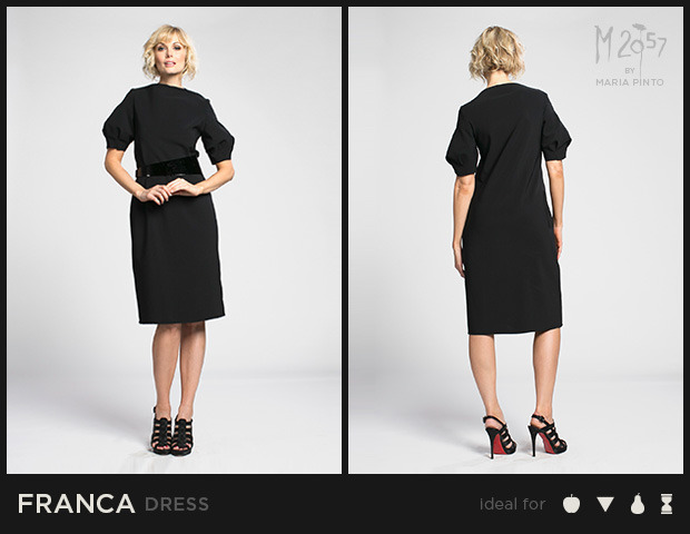"""Shift dress with a bateau neckline, sculpted sleeves, and cut edges / Form jersey / Waist to hem: 25"""" / Shown here in Black / $250"""