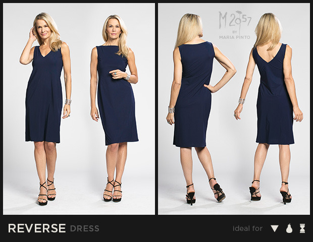 """Two dresses in one! Can be worn as either a V-neck or Bateau neckline / Liquid jersey with """"2nd skin"""" slip / Waist to hem: 25"""" / Shown here in Midnight / $250"""