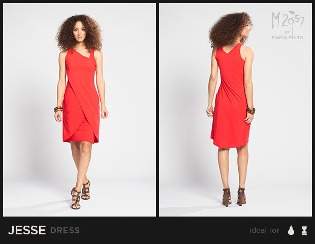 """Sleeveless dress with a fitted bodice and asymmetrical neckline, layered skirt has a side slit / Liquid jersey with a """"2nd skin"""" slip / Waist to hem: 25"""" / Shown here in Kickstarter Red / $250"""