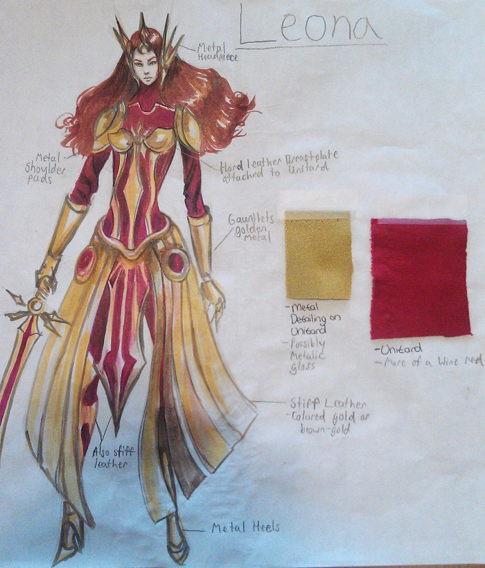 Leona costume art. Handed off to designers and prop-smiths