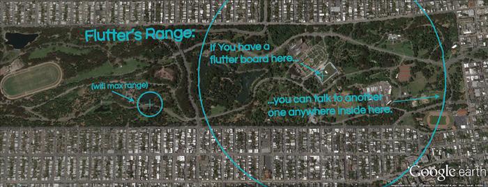 Flutter's range superimposed over Golden Gate park