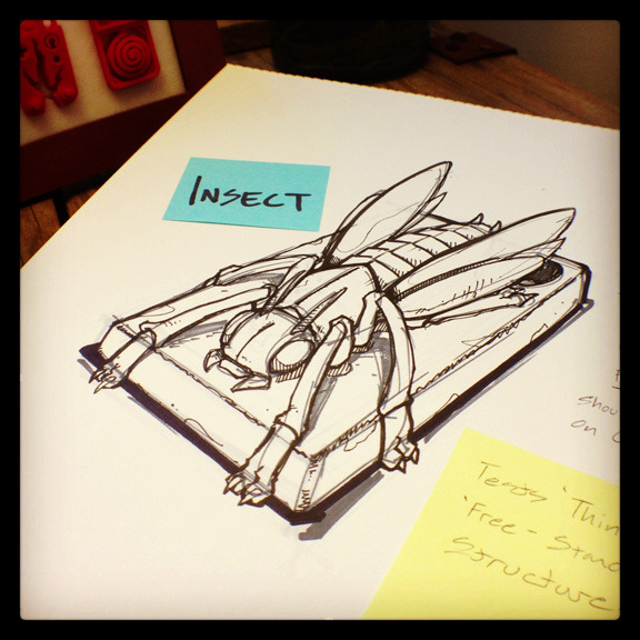 'Insect' - Demos thin vertical surfaces & narrow undercuts.
