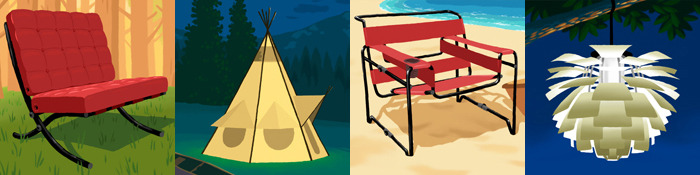 The first of many Campanion products developed by Hawk: Aircelona Chair, Teepee, Wassity Chair, Outichoke Lantern