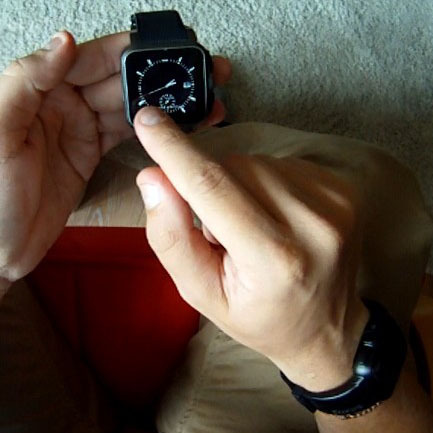 The watch shown is the engineering prototypes we are using in tests. You can see the final design TrueSmart worn on the wrist (right bottom corner of pic).