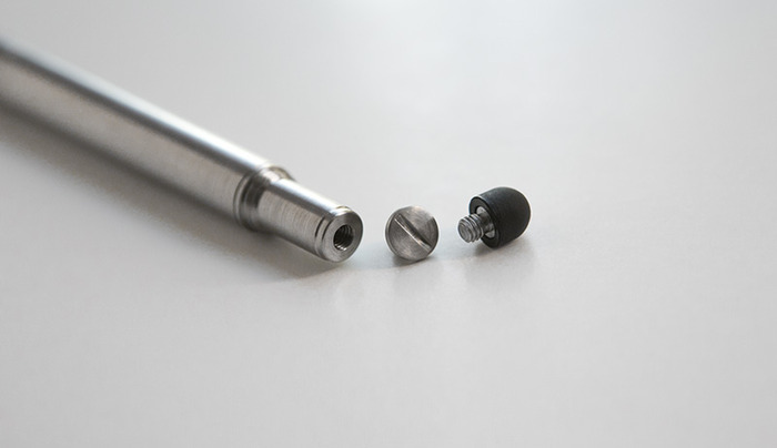Every pen comes with a coin-screw back plug and removable stylus tip