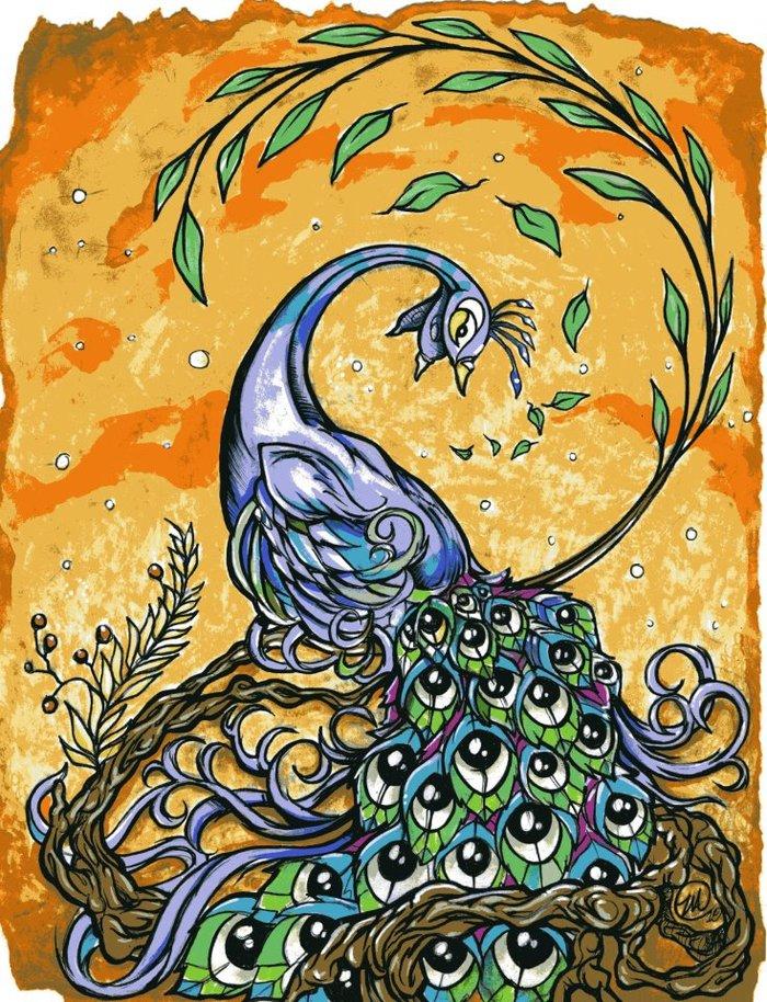 """Peacock"" print by Zack Arnett (8"" x 10"")"