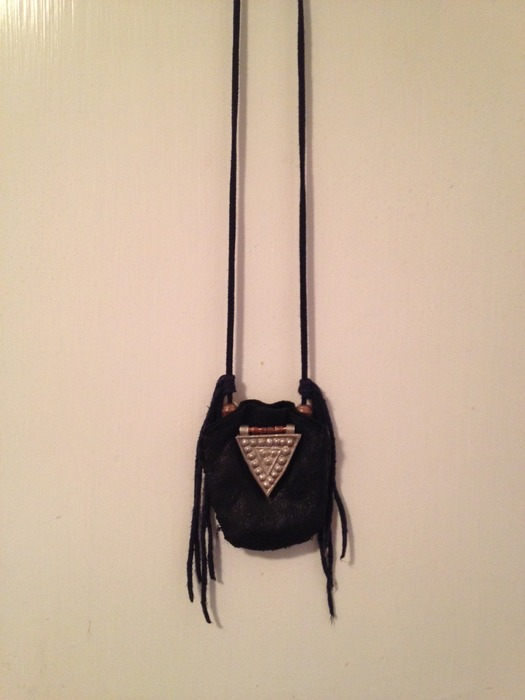 """Example of custom-made, """"medicine bag"""" necklace by Costume Designer, Gara Gambucci, worn by Zack on stage."""