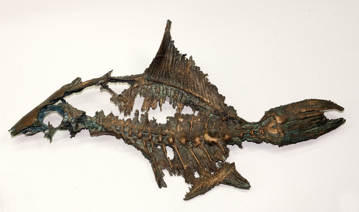 Fish skeleton, lost wax casting in bronze with patina