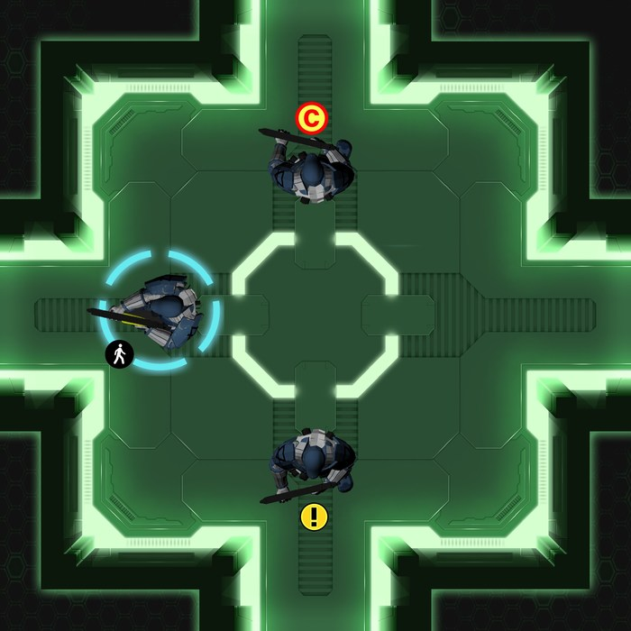 Gameplay view mockup. We are partisans of the bird's view for tacticals.