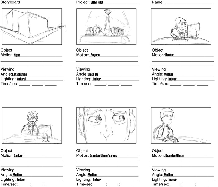storyboard panels for the pilot