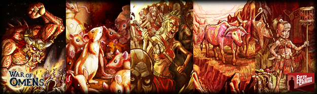 A collection of cards showcasing the Daramek's primal, and often savage culture.