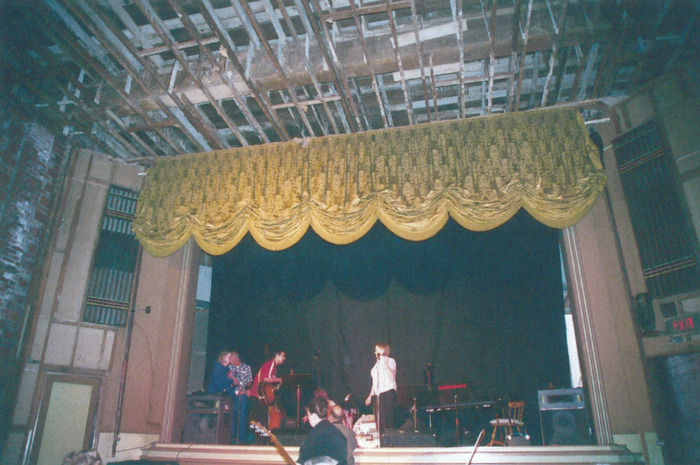 Renovating the stage, shortly after purchasing the theater.