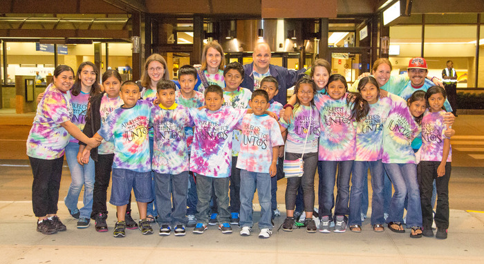 Grandchildren and volunteers at the Omaha International Airport - Photo by Holly Zins