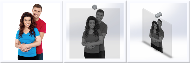 Example of a 3D rendering of a custom one-of-a-kind Wall Mounted Design for your Family Photos.