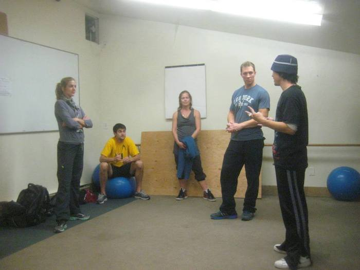 Klapow (far right) with skaters (L-R) Erin Reed, Ryan Bradley, Natalia Ziatseva, and Jonathan Hunt