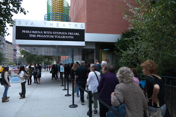 Lines for the sold out screening at the SVA Theatre in NYC