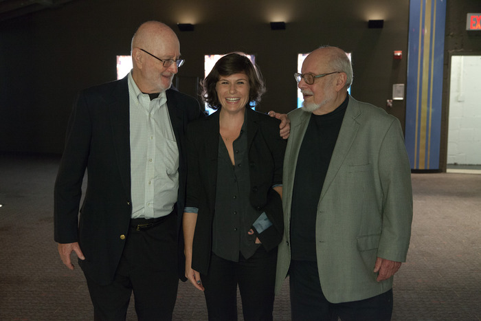 Jules Feiffer, Hannah Jayanti, and Norton Juster. Director is laughing after Jules told her to quit hopping and sit still for the photo :)