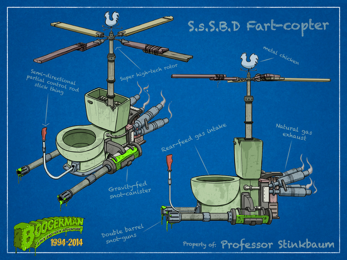 Professor Stinkbaum's latest contraption, the Snot-so-Silent-Butt-Deadly Fart-copter!