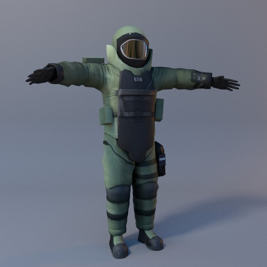 3-D EOD suit designed by Matt McComb for the film's title sequence.