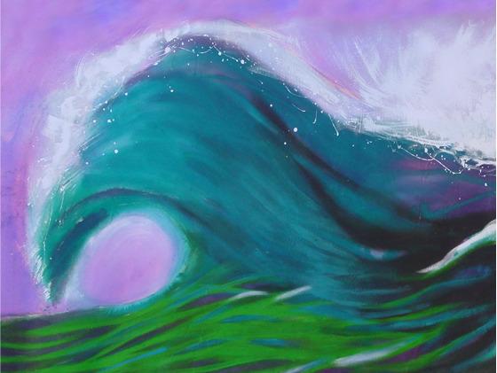The First Wave, acrylic on raw canvas 5 x 10 feet