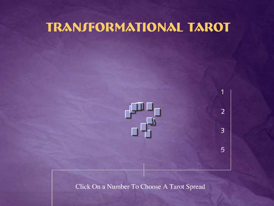 Opening screen of The Transformational Tarot Online Game