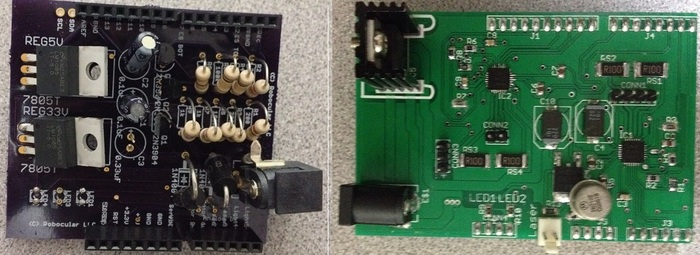 Close-up of our latest circuit (right) and the one from two months ago (left)