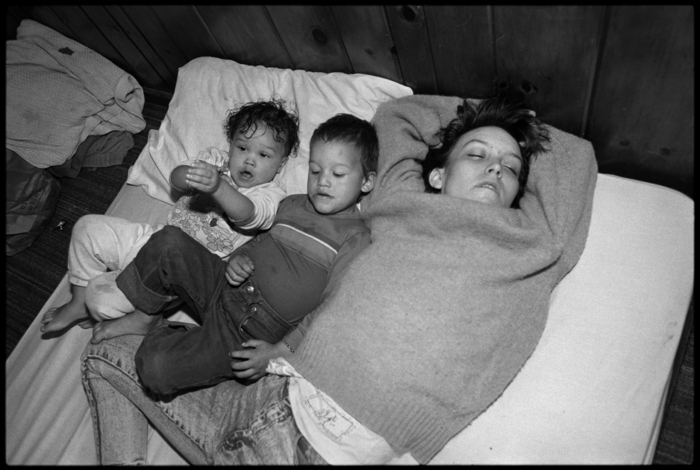Tiny sleeping with Daylon and La Shawndrea, Seattle, 1989