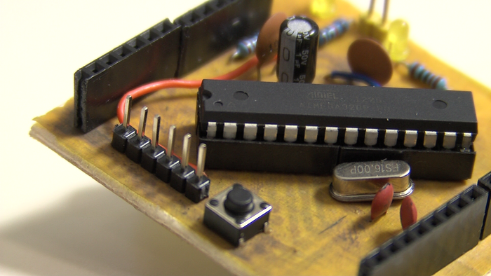 Arduino compatible microcontroller printed on kapton and wood
